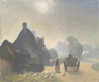 village inn, misty morning by sir george clausen
