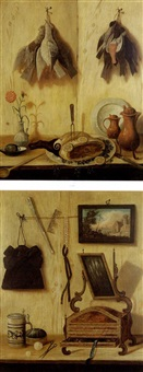 nature morte en trompe-l'oil (+ another; pair) by antonio cioci