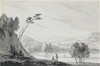 landscape with a view across a lake to distant hills by richard. wilson