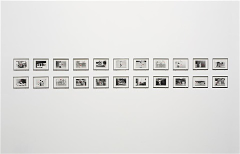 a movie: directional piece where people are walking (version a), (22 works) by john baldessari