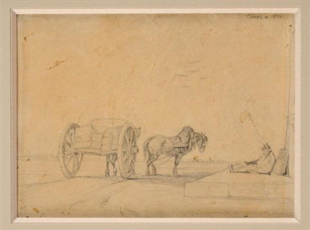 le repos du charetier by jean-baptiste-camille corot