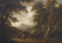 a wooded landscape, with figures and livestock on a path and ruins beyond by william ashford