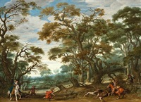the stag hunting party by alexander keirincx and jan maertszen the younger