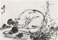 白猫 立轴 设色纸本 (white cat) by huang zhou