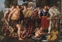 allegorische darstellung: die verkörperung venedigs, assistiert von herkules und den drei grazien krönt die personifikationen von baukunst und handel (merkur) by benedetto caliari