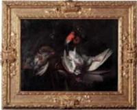trophée de chasse sur un entablement, bécasses, bouvreuils et poule faisane by william gowe ferguson