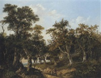 wooded landscape with travellers on a path by charlotte nasmyth