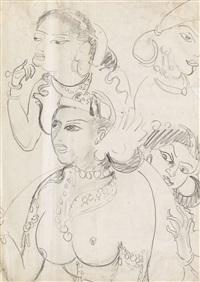 königin sivali und ihre dienerinnen (nach ajanta-fresko) by ernst ludwig kirchner