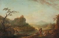 paysage traversé par une rivière avec pêcheurs et villageoises by jean baptiste charles claudot