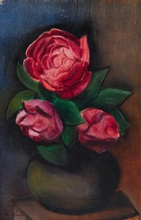 still life with roses in a vase by moïse kisling