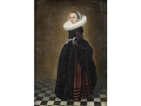 portrait of a lady, full-length, in a black and red dress with a white ruff by dirck dircksz van santvoort