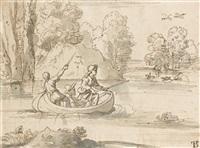 trois chasseurs dans une barque by michel corneille the younger