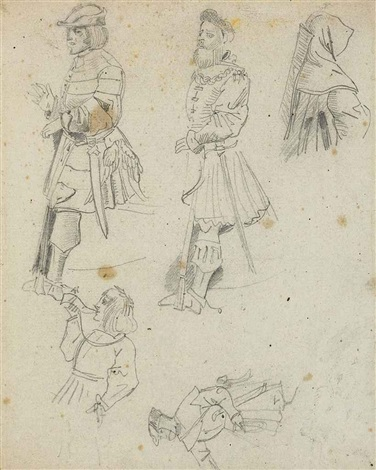 studies of courtiers in medieval dress by eugène delacroix
