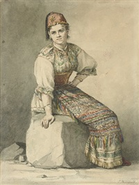a crimean girl in traditional costume by konstantin nikolaevich filippov