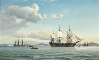 ships in the bosphorus off istanbul by daniel hermann anton melbye
