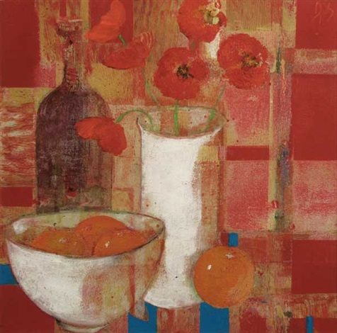 still life poppies in a vase and oranges by david gordon hughes