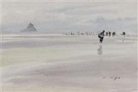 pêcheurs devant le mont-saint-michel by pierre brette