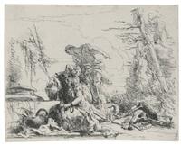 donna con le braccia incatenate e quattro figure by giovanni battista tiepolo