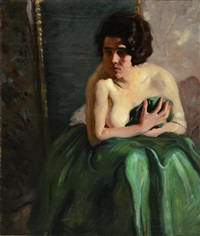 nude woman looking in mirror by ernest martin hennings