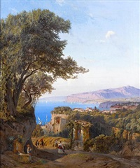 at the fountain, sorrento by ludwig franz karl bohnstedt