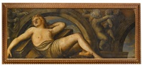allégorie féminine dans un trompe-l'oeil architectural by paolo farinati