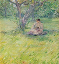 young woman reading in an orchard grove, mid-summer by theodore robinson