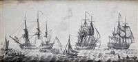 sailors embarking on men o'war, before a british fort by john hood