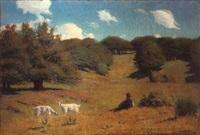 pâtre gardant ses chèvres by elemer vagh-weinmann