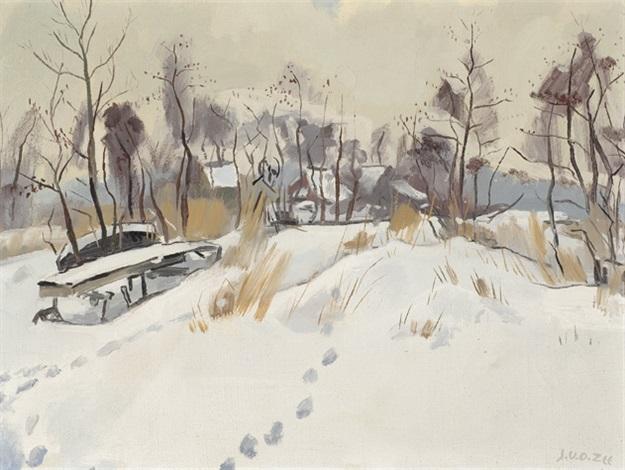 snow-covered village by jan van der zee