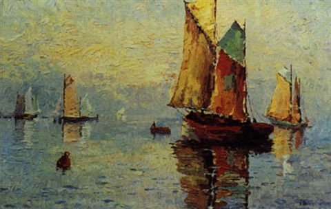 1932 - Eva Stuart-Watt : Sailing Boats at Sundown