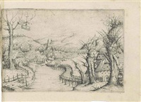 landscape with a winding wooden bridge by augustin hirschvogel