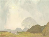 haystacks, twilight by sir george clausen