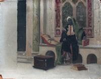 homme arabe assis sur un entablement auprès de la fenêtre by ludwig deutsch