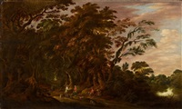 waldlandschaft mit bauernpaar und jägern by alexander keirincx