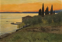 autumn evening at lago di garda (san vigilio) by curt agthe