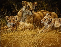 lioness and cubs by gary r. swanson