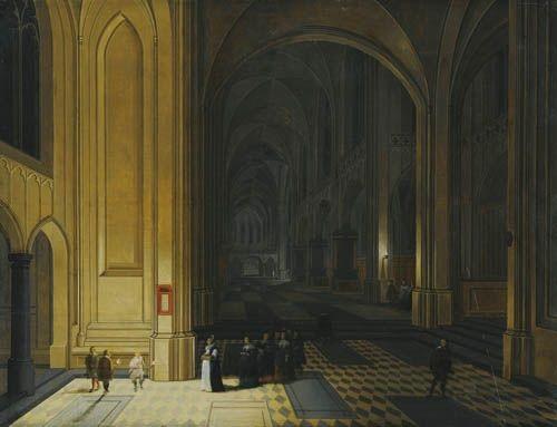 vue intérieure dune église la nuit avec un groupe de religieuses au premier plan by peeter neeffs the elder