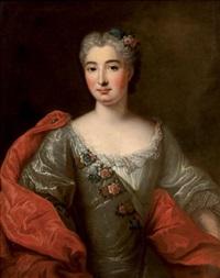 portrait de femme portant une étole rouge by pierre gobert