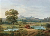 rural scene with dray, figures and cottages by henry c. gritten