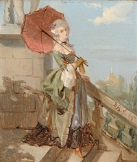 elegant lady with a parasol in paris by david joseph bles