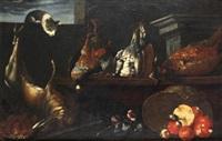 bodegón con gato, liebre, aves y hongos by jan fyt