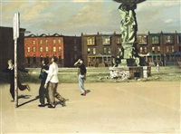boys playing in a square, philadelphia by walter stuempfig