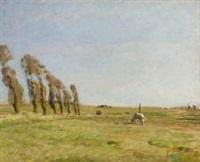 landskab med popler by julius paulsen