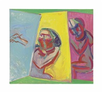 zwei maler, drei leinwände (two painters, three canvases) by maria lassnig