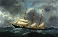 trois-mâts dans la tempête by e. adam