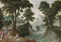 mountainous landscape with the return of jacob from canaan by hans bol