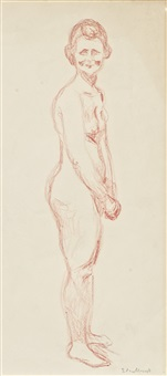 standing red nude by edvard munch