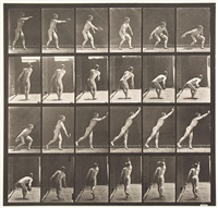 nude man throwing an iron disk, plate 307 by eadweard muybridge