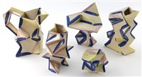 5pc. glazed earthenware by andrew lord