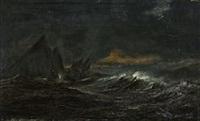 the danish frigate gefion in stormy weather near gibraltar by daniel hermann anton melbye